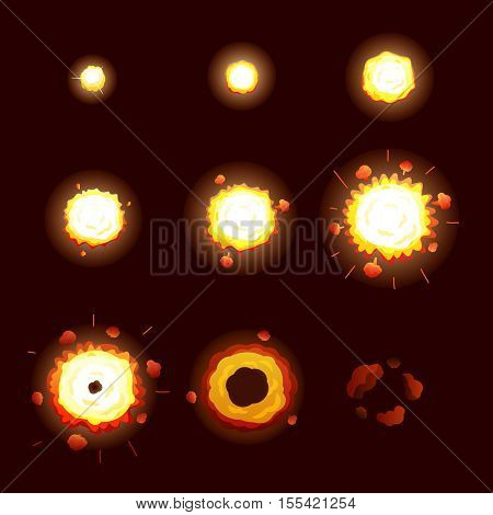 Explosion process set with explosion stages symbols cartoon vector illustration
