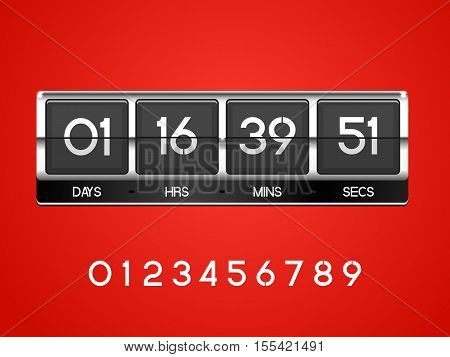 Chrome countdown Timer for the website. Square section. Days with hours, minutes, seconds. red background. Vector drawing