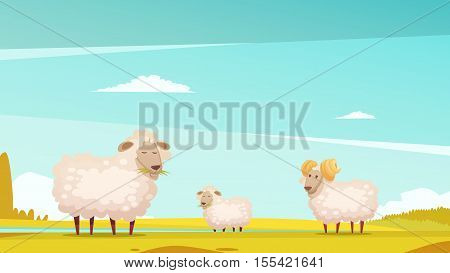 Domestic sheep breeding and raising farm pasture funny cartoon poster with grazing ram and lamb vector illustration