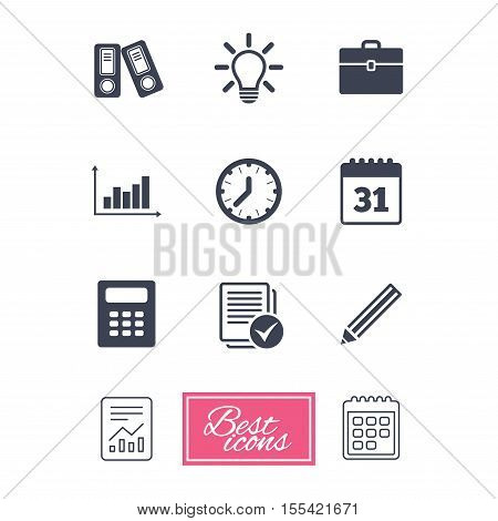 Office, documents and business icons. Accounting, calculator and case signs. Ideas, calendar and statistics symbols. Report document, calendar icons. Vector