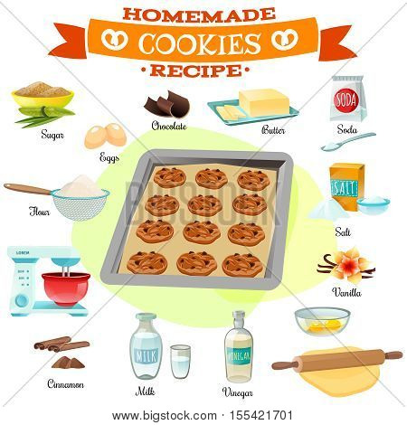 Flat design baking ingredients and recipe for delicious homemade chocolate cookies isolated vector illustration