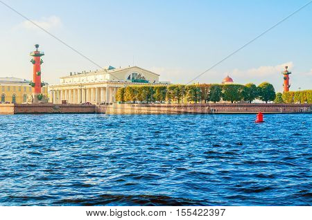 Panorama of Vasilievsky island spit of Saint Petersburg Russia - rostral columns Stock exchange building and Custom house in Saint Petersburg Russia. Architecture landscape of Saint Petersburg