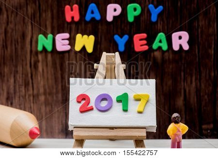 Happy new year 2017 decoration, New year concept and idea