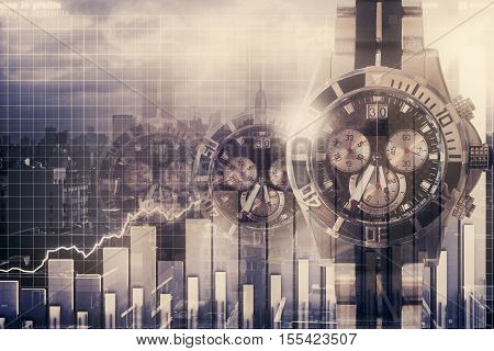 Abstract clocks on city background with business chart. Finance and time management concept. Double exposure