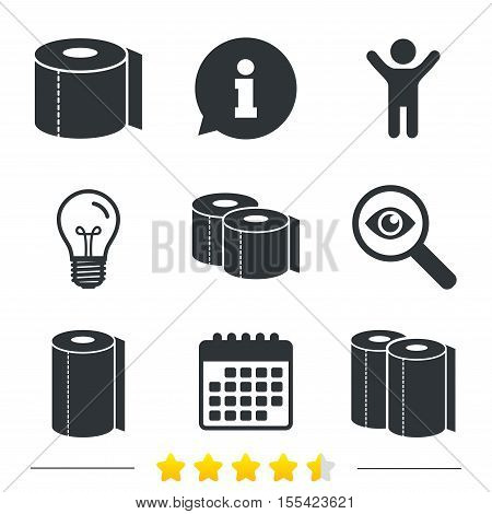 Toilet paper icons. Kitchen roll towel symbols. WC paper signs. Information, light bulb and calendar icons. Investigate magnifier. Vector