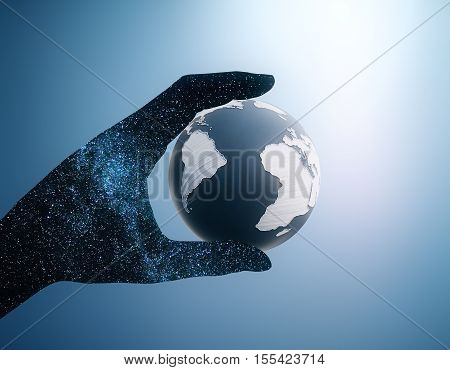 Abstract space hand holding terrestrial globe on blue background. 3D Rendering