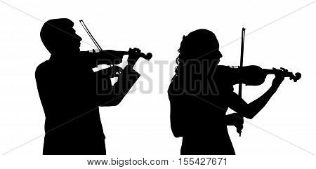 Male and female violinist isolated on white background.