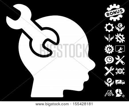 Brain Service Wrench icon with bonus settings pictograph collection. Vector illustration style is flat iconic white symbols on black background.
