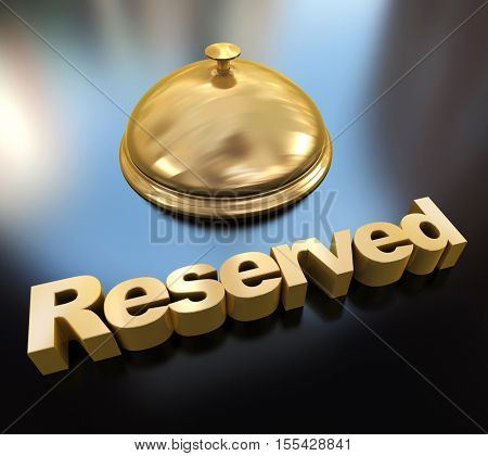 3D rendering of a golden hotel bell with the word reserved