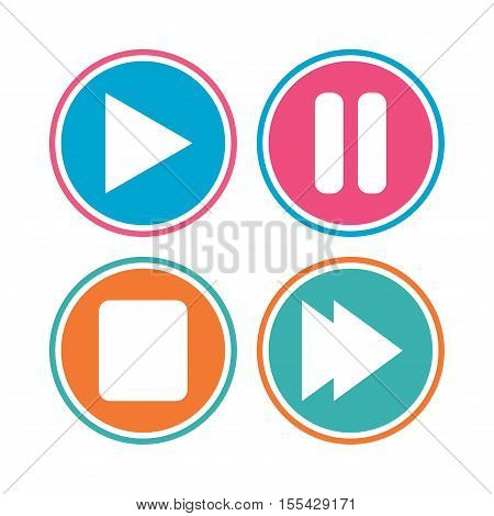 Player navigation icons. Play, stop and pause signs. Next song symbol. Colored circle buttons. Vector