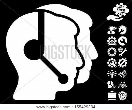 Call Center Operators icon with bonus configuration clip art. Vector illustration style is flat iconic white symbols on black background.