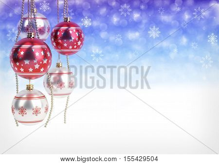 red and silver christmas balls hanging on bokeh background.3D render