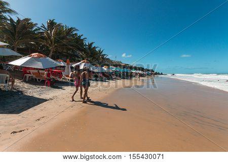 Tibau do Sul Rio Grande do Norte Brazil - October 16 2016 - Love Beach located in Pipa district is a famous beach in Brazil