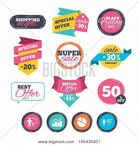 Sale stickers, online shopping. Diagram graph Pie chart icon. Presentation billboard symbol. Man standing with pointer sign. Website badges. Black friday. Vector