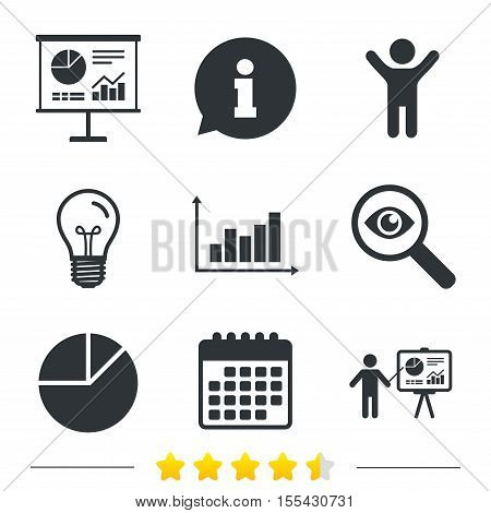 Diagram graph Pie chart icon. Presentation billboard symbol. Supply and demand. Man standing with pointer. Information, light bulb and calendar icons. Investigate magnifier. Vector