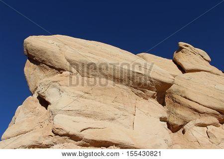 A prominent sandstone rock formation in Capitol Reef National Park in Utah.