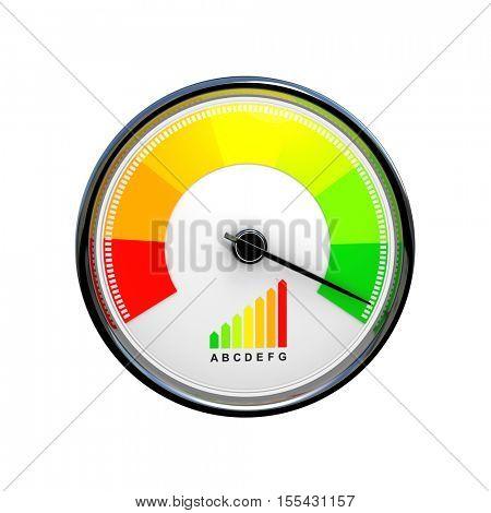 speedometer energy efficiency 3d rendering image