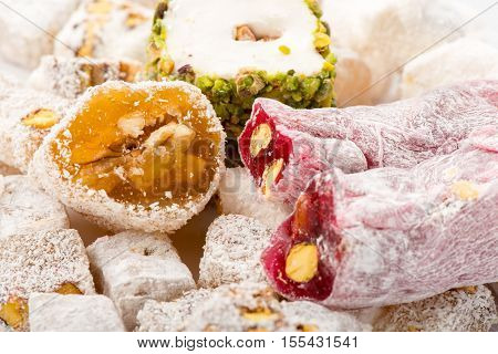 Close Up View Of Traditional Turkish Delights Tasty And Colorful