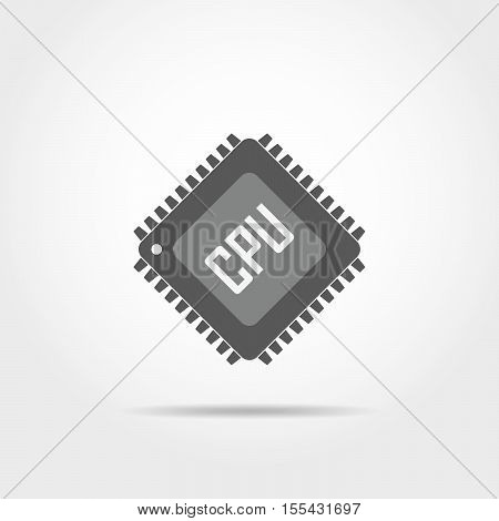 Gray chip icon in flat design. Simple microchip icon. Microcircuit flat sign. Vector illustration.