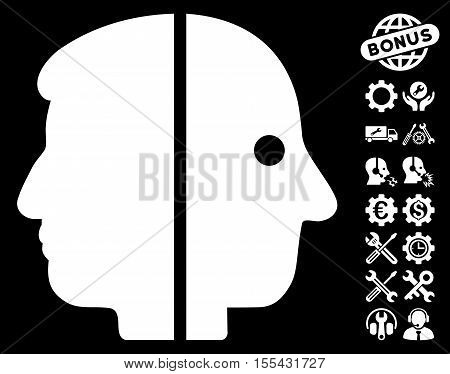 Dual Face pictograph with bonus service images. Vector illustration style is flat iconic white symbols on black background.
