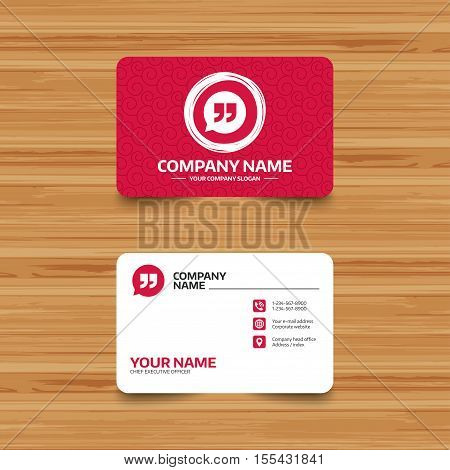 Business card template with texture. Quote sign icon. Quotation mark in speech bubble symbol. Double quotes. Phone, web and location icons. Visiting card  Vector