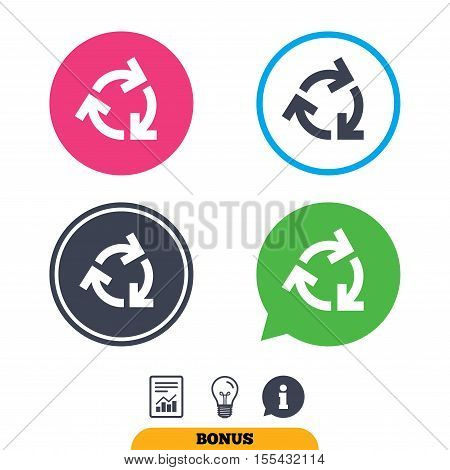 Recycling sign icon. Reuse or reduce symbol.. Report document, information sign and light bulb icons. Vector