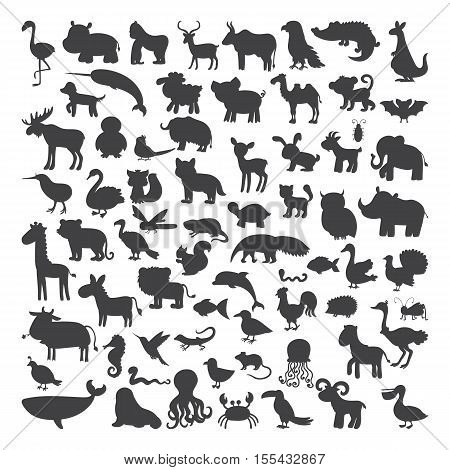 Big Set Of Black Animals Silhouettes In Cartoon Style. Wild Life