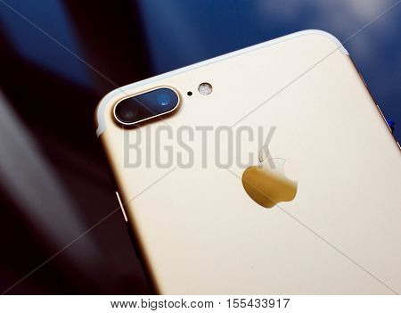 PARIS FRANCE - SEP 26 2016: New Apple iPhone 7 Plus unboxing and testing - double zoom camera with high performance sensor. New iPhone7 is one of the best waterproof smart phone in the world