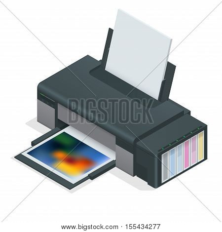 Photo inkjet printer. Color printer prints photo on white isolated background.