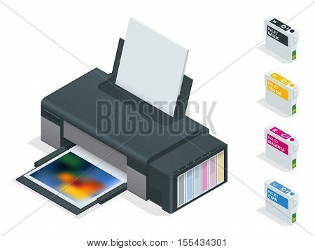 Photo inkjet printer. Color printer prints photo on white isolated background. Four empty refillable cartridges