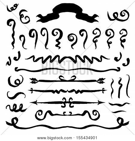 Vector. Black hand drawn elements isolated on white background. Hand drawn simple and symmetric multifunctional signs for design books, newspapers, postcards and others.
