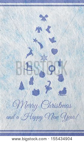 Abstract christmas tree with various christmas motifs, christmas card