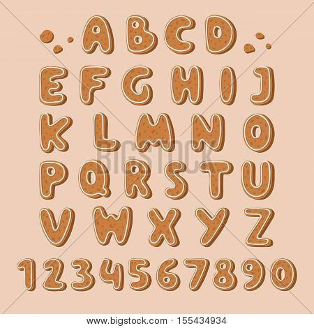 Christmas or new year alphabet cookies set with glaze vector illustration. Isolated textured letters Cookie biscuit alphabet font on white. Cookie biscuit alphabet font baked sweet set dessert.
