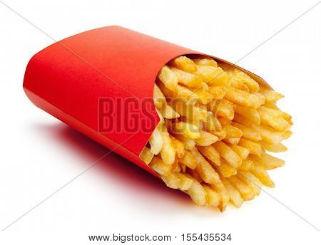 French fries in a red carton box, isolated on the white background, clipping path included.