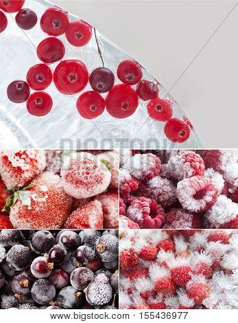 Set of frozen berries. Forest cranberry in piece of ice, frozen red strawberries raspberries currant blueberries. Macro view.
