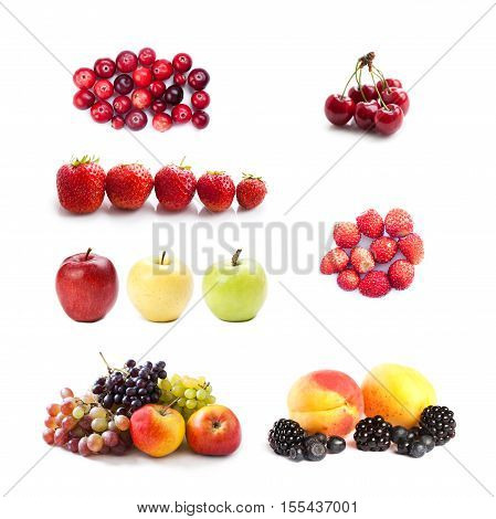 Set of fruits and berries photography. Cranberries cherry strawberries blueberry apple grape apricot blackberry on white background. Thanksgiving day