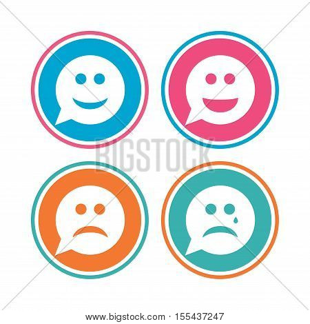 Speech bubble smile face icons. Happy, sad, cry signs. Happy smiley chat symbol. Sadness depression and crying signs. Colored circle buttons. Vector