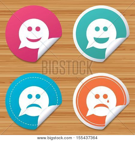Round stickers or website banners. Speech bubble smile face icons. Happy, sad, cry signs. Happy smiley chat symbol. Sadness depression and crying signs. Circle badges with bended corner. Vector