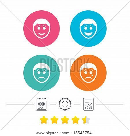 Human smile face icons. Happy, sad, cry signs. Happy smiley chat symbol. Sadness depression and crying signs. Calendar, cogwheel and report linear icons. Star vote ranking. Vector