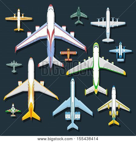 Vector holiday trip flying passenger airplane top view. Vector illustration airplane top view jet transportation. Commercial aviation journey airplane top view business tourism engine airliner design.