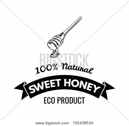 Wooden honey dipper, sketch style vector illustration isolated on white background. Sweet honey label, badge. Vector Illustration