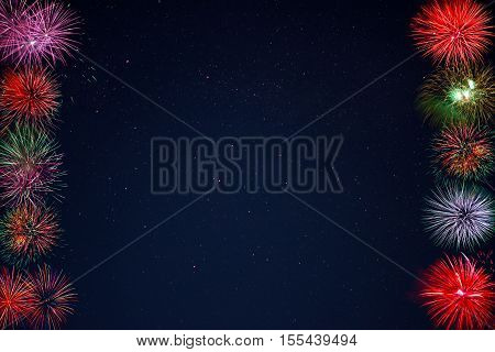 Frame of beautiful celebration fireworks over night sky copy space. Independence Day Christmas New Year holidays salute. 4th of July amazing fireworks. Holidays background.