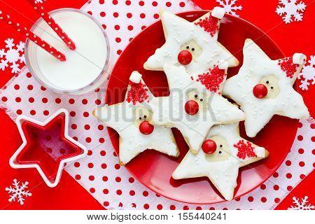 Christmas cookies santa claus creative idea for treats kids funny edible santas of star cookies recipe holiday baking Christmas background