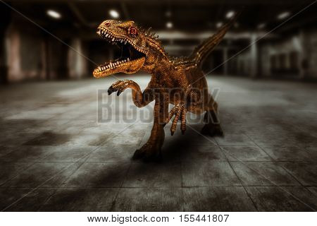Dinosaur in action, T-Rex in an empty factory hall -business metaphor