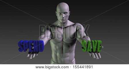 Spend or Save as a Versus Choice of Different Belief 3d Illustration Render