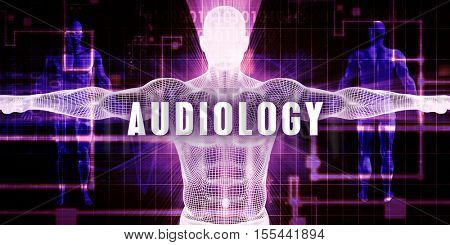 Audiology as a Digital Technology Medical Concept Art 3d Illustration Render