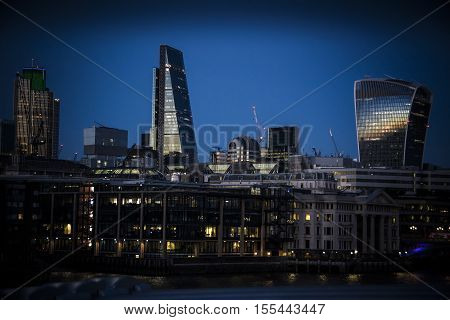 London Blackfriars seen from across the Thames as night falls
