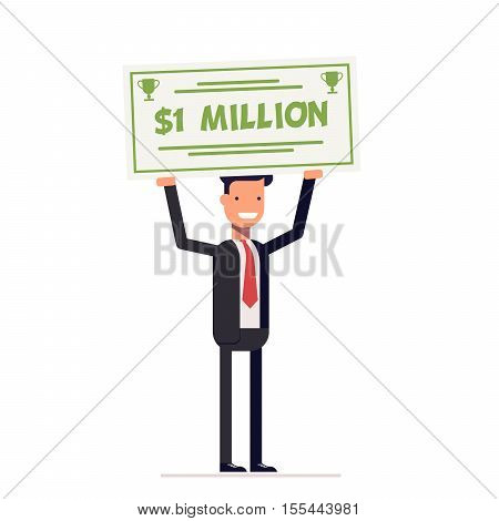 Happy businessman or manager holding large check of one million dollar in hands. Smiling man. Vector, illustration EPS10