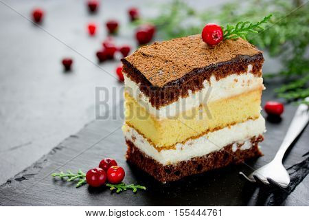Piece of layer chocolate lemon cake decorated with cranberries for Christmas party