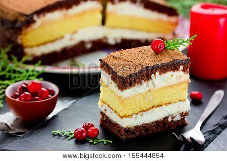 Delicious Christmas chocolate lemon cream dessert cake